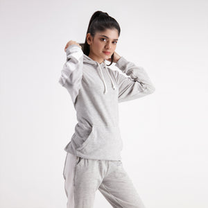 Grey Hoodie With Side White Panel