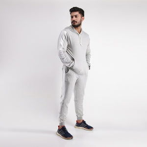 Grey Tracksuit With Side White Panel