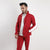 Red Poly Fleece Mock Neck Jacket With White Panels