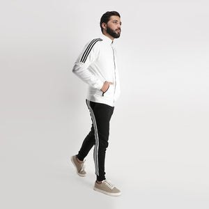 Black White Three Striped Tracksuit