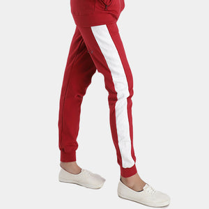 Red Poly Fleece Trousers With White Panels