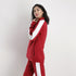 Red Poly Fleece Tracksuit With White Panels