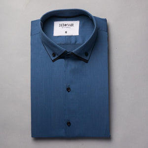 Royal Blue Pinstripes- Double Collar