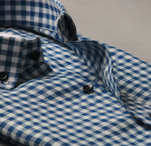 Soft Navy Blue Gingham Linen Shirt