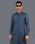 Blue Textured Fabric Kurta Pajama