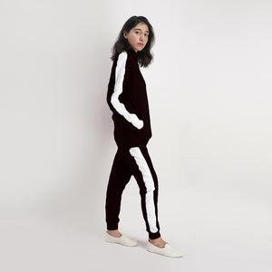 Black Poly Fleece Tracksuit With White Panels
