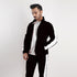 Black Poly Fleece Mock Neck Jacket With White Panels