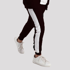 Black Poly Fleece Trousers With White Panels
