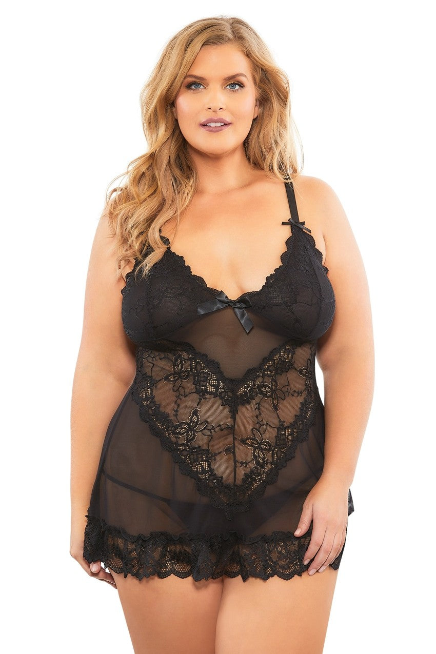 The Valentine Soft Cup Babydoll in Classic Black