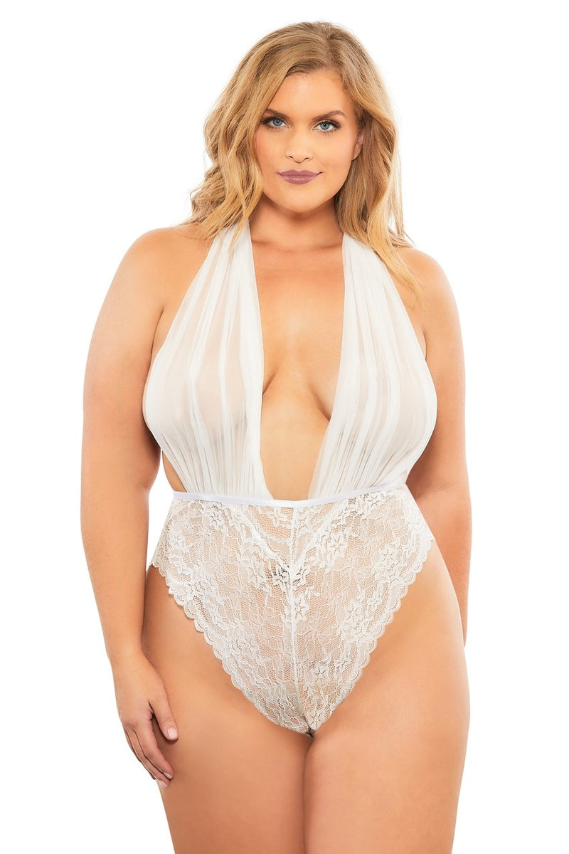 The Aria Plunge Teddy in Bridal White