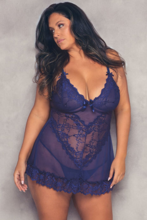 The Valentine Soft Cup Babydoll in Estate Blue