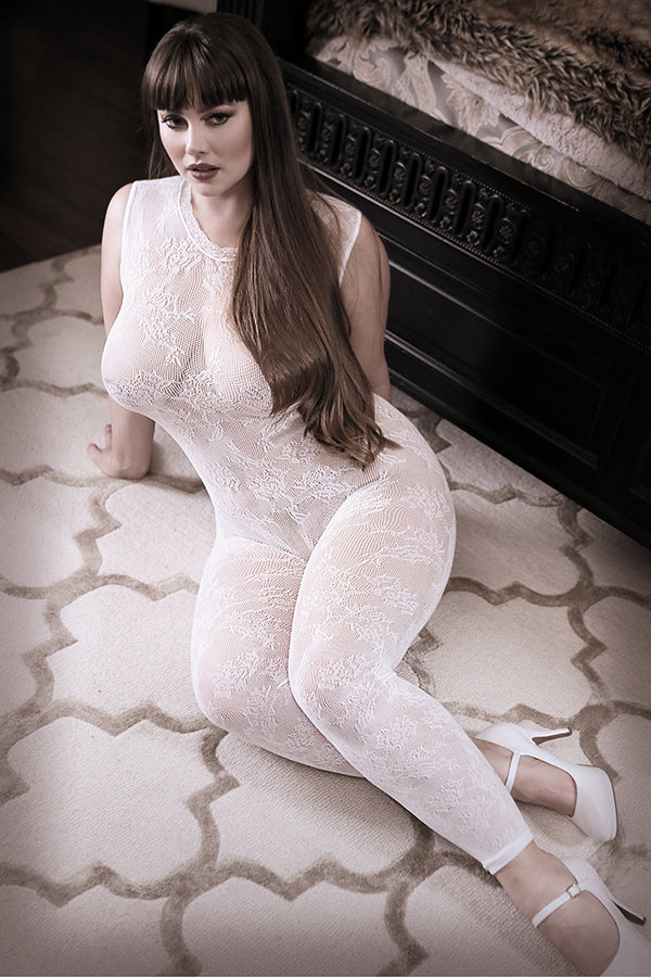 Worth The Wait Lace Bodystocking in White