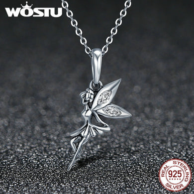 WOSTU  925 Sterling Silver Flower  Necklace
