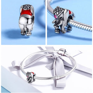 BAMOER 925 Sterling Silver Lucky Elephant Charms