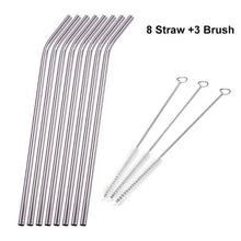 Load image into Gallery viewer, Stainless Steel Drinking Straws with Cleaner Brush