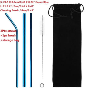 Stainless Steel Drinking Straws with Cleaner Brush
