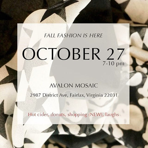 Fall Fashion is Here! Shop with Simply Zeena on Oct. 27 from 7-10 at the Avalon Mosaic.