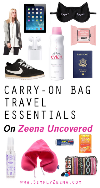 Carry-On Bag Travel Essentials on Zeena Uncovered