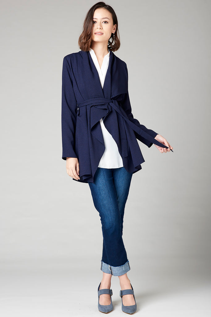 Draped Short Jacket - Navy