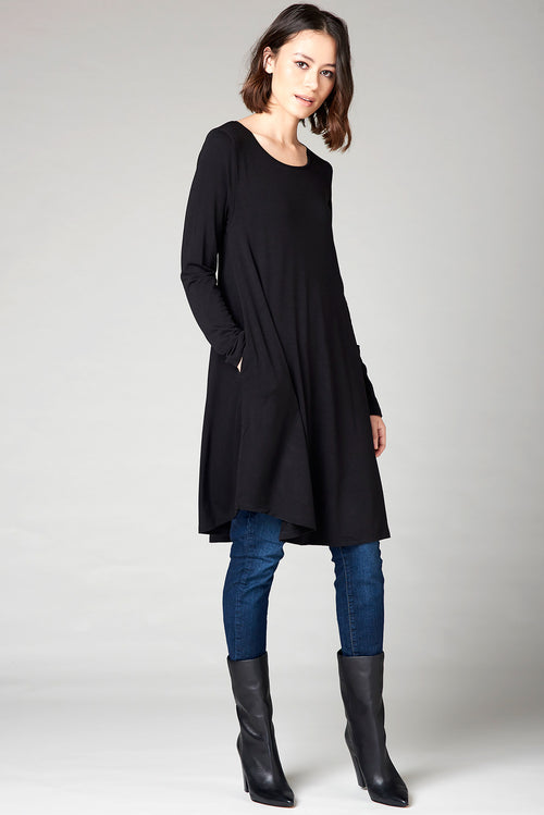 Long Tee Dress - Black
