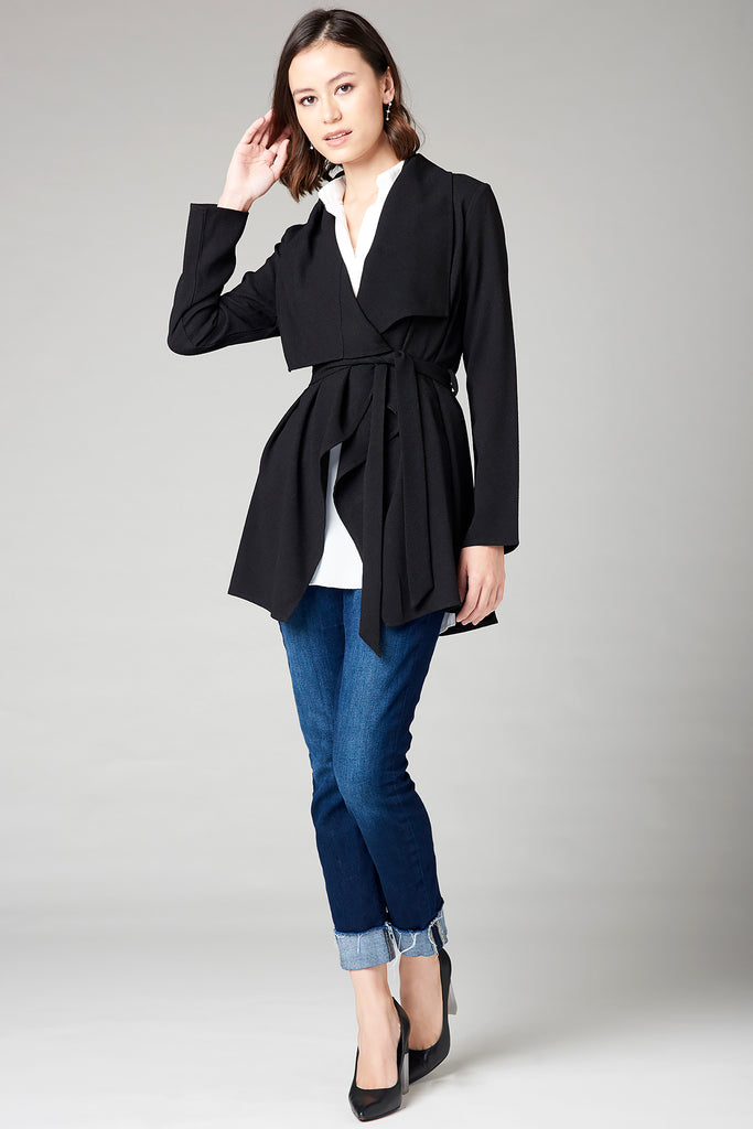Draped Short Jacket - Black