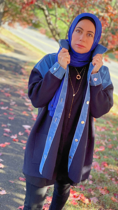 Satin Striped Jersey Hijab - Cobalt