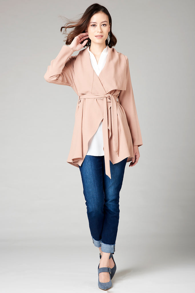 Draped Short Jacket - Mauve