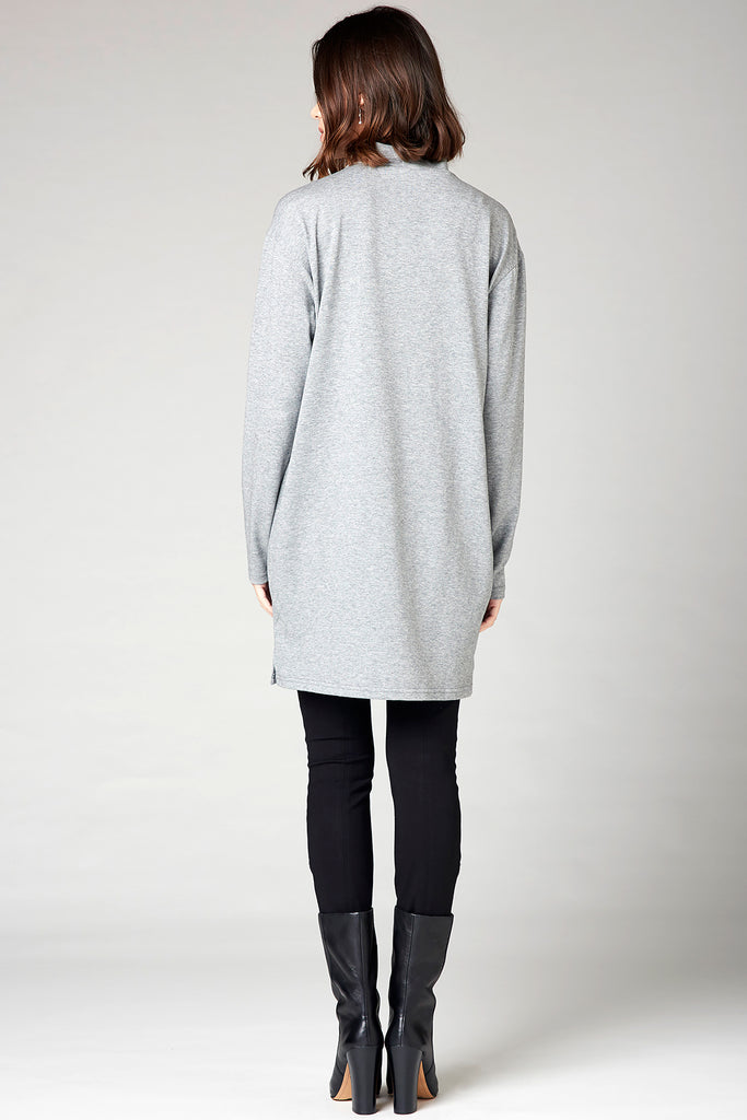 Turtleneck Tie Sweater - Gray