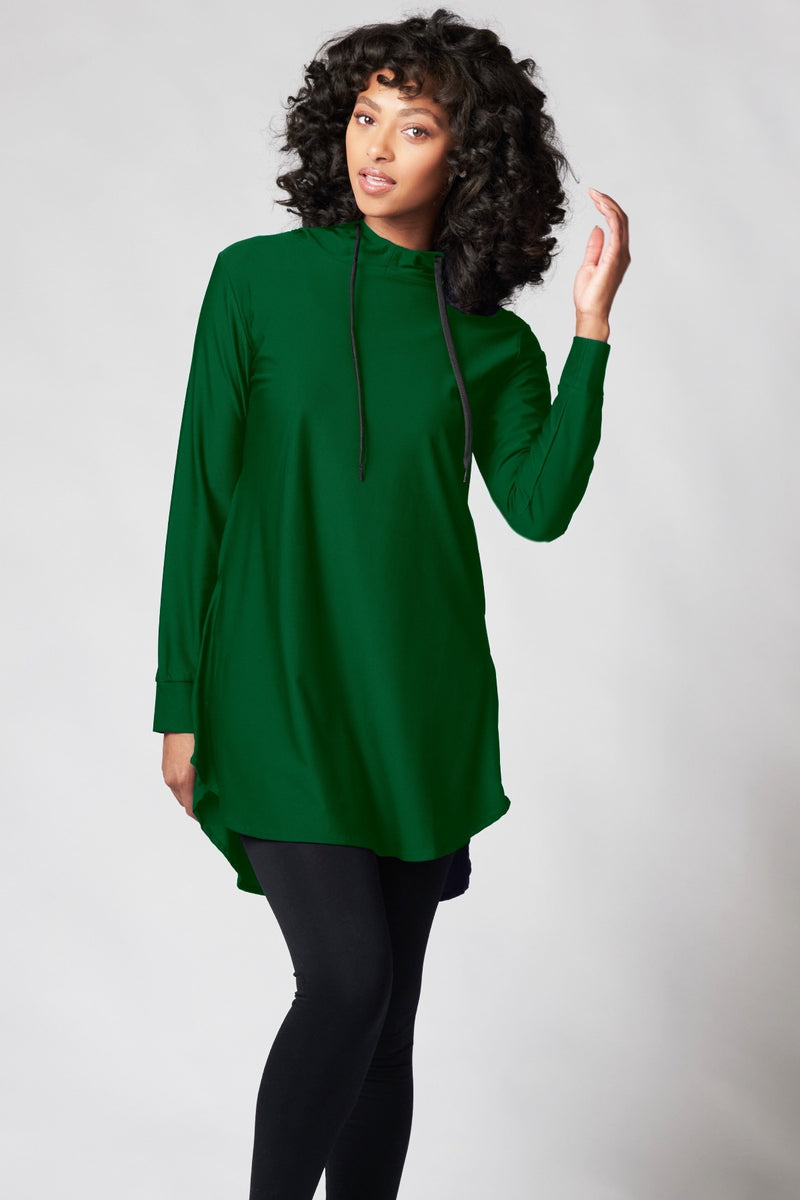 Funnel Neck Active Top - Hunter Green