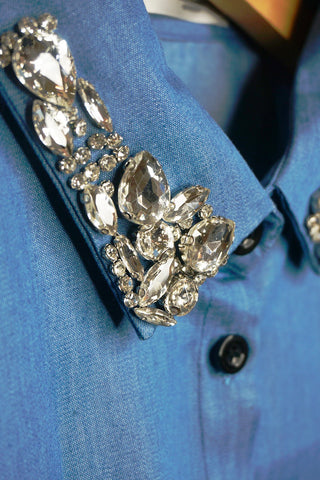 Denim Collar - Rhinestone