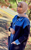 Satin Striped Jersey Hijab - Latte