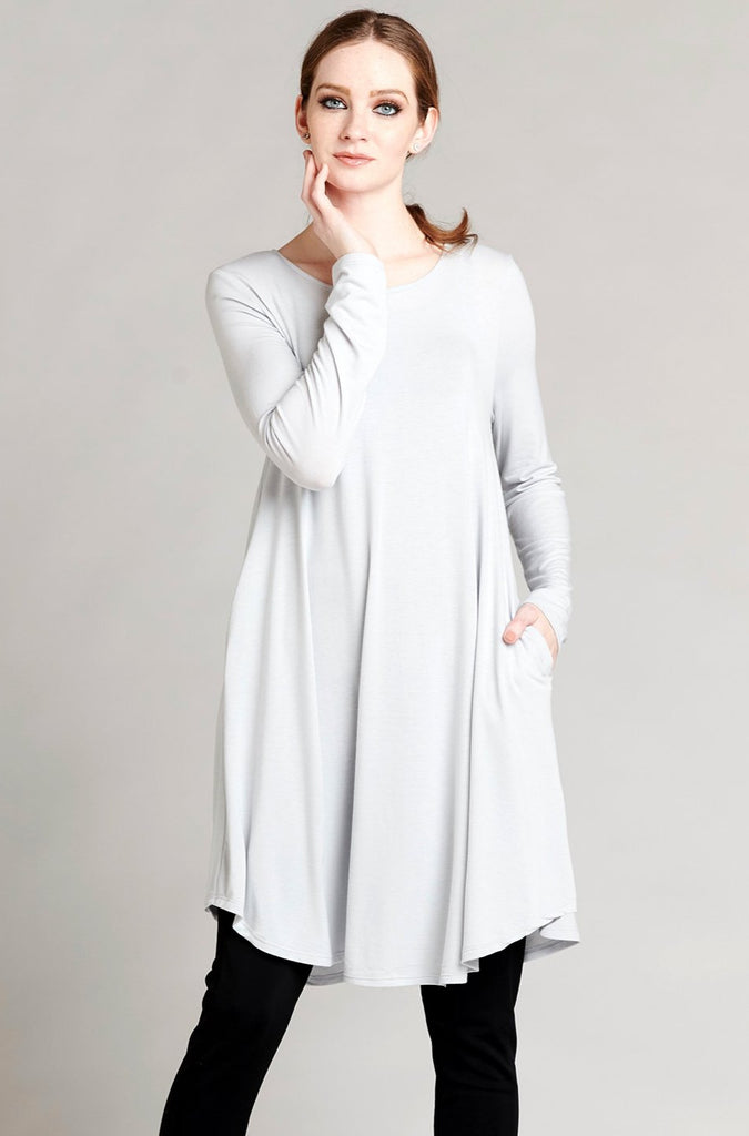 Long Tee Dress - Light Gray