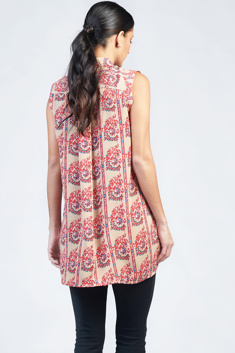 Basic Tan Paisley Tank