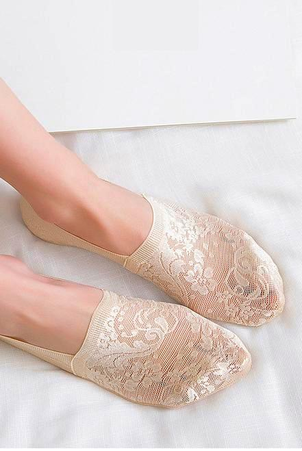 Lace Liner Socks - Nude