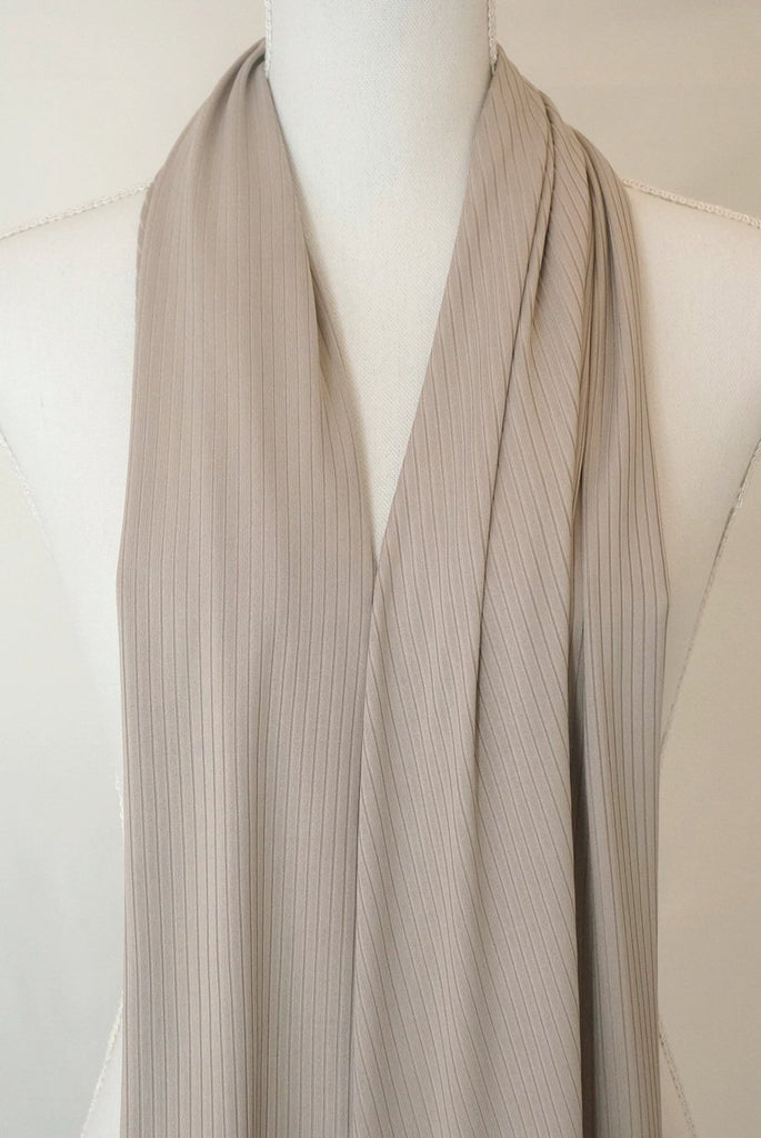 Satin Ribbed Jersey Wrap - Tan