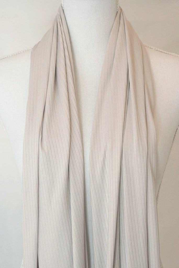 Satin Ribbed Jersey Wrap - Beige