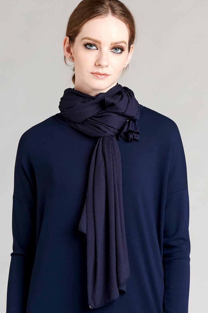 Satin Ribbed Jersey Wrap - Navy