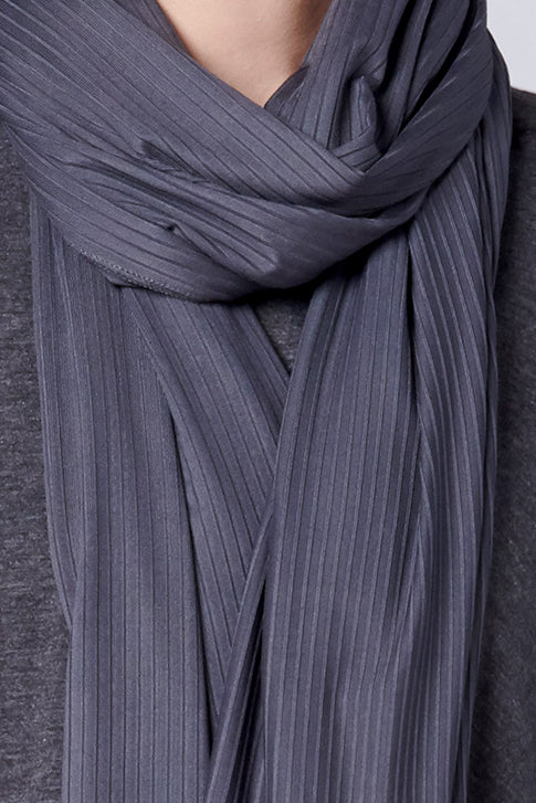 Satin Ribbed Jersey Hijab - Gravel