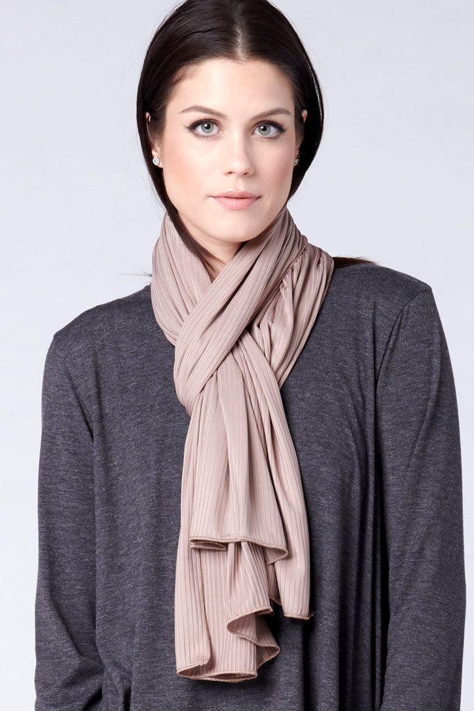Satin Ribbed Jersey Wrap - Taupe