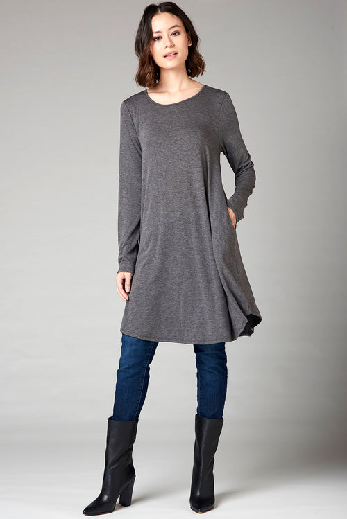 Long Tee Dress - Gray