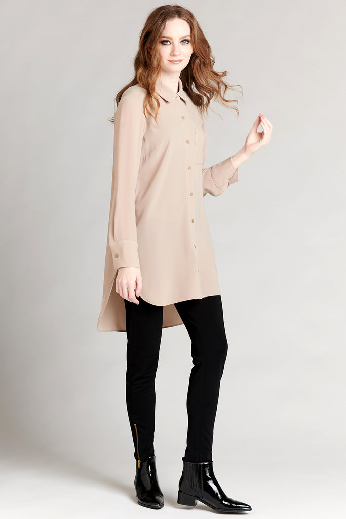 Pocket Shirt Dress - Taupe