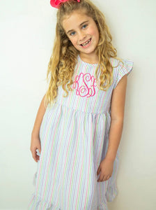 Multi Color Stripe Seersucker Dress