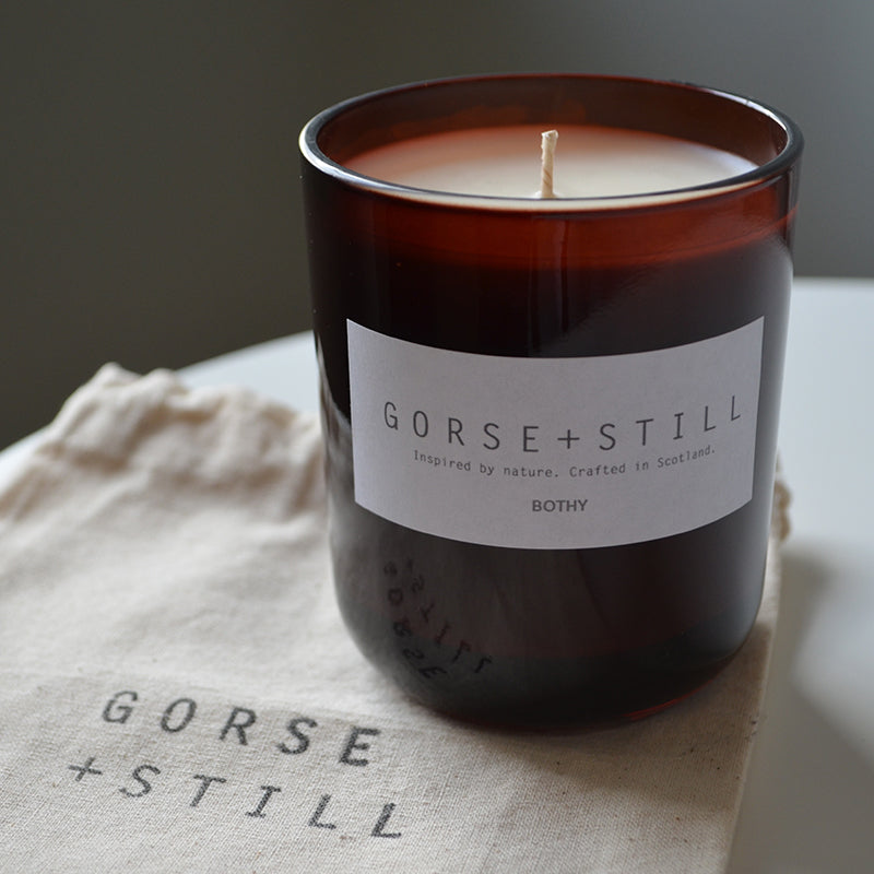 Gorse and still limited edition Bothy candle smells of smoked oak cedarwood, ebony, incense and dark musk