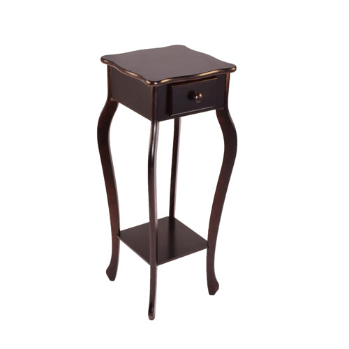 Wood Pedestal End Table Curved Legs with Drawer & Shelf, Cherry