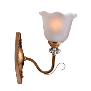 Wall Light Bronze Color with White Glass Shade