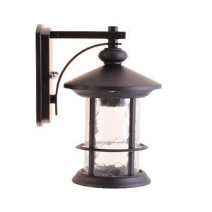 One-Light Outdoor Wall Lantern with Clear Glass, Black