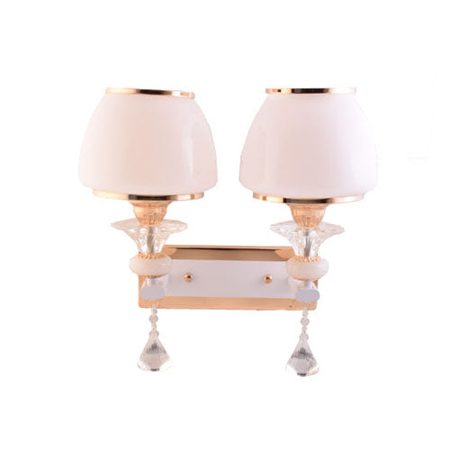 2 Lamp Wall Light Gold with White Shade