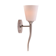Load image into Gallery viewer, Designer Wall Lamp with White Glass Shade Brushed Steel