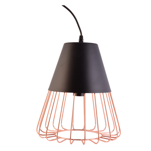 Black Pendant Light with Copper Cage