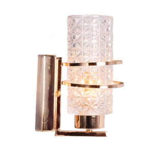 Golden Decorative Wall Light with Crystal Glass Shade, E14